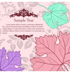 Retro card with grape leafs vector image vector image