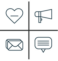 Social icons set collection of bullhorn text vector