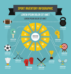 Sport inventory infographic concept flat style vector