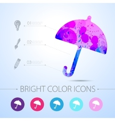 umbrella icon with infographic elements vector image vector image