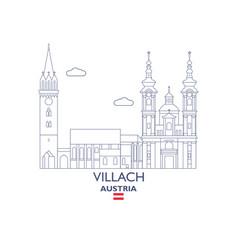 Villach city skyline vector
