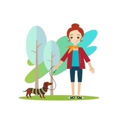 Walking a dog daily routine activities of women vector