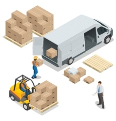 Warehouse Loading and unloading from warehouse vector image vector image