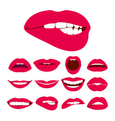 woman lips expression icons set vector image vector image