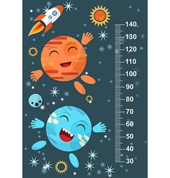 Funny planet on the background of stars meter wall vector