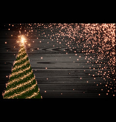 Wooden background with green christmas tree vector