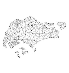 map of singapore from polygonal black lines vector image