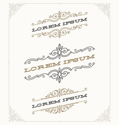 set of elegant vintage ornamental emblems vector image