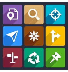 Map gps and navigation flat icons set 45 vector