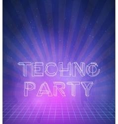 1980 Neon Techno Poster Retro Disco 80s Background vector image vector image