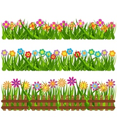 Collection grass and flowers vector