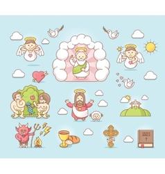 Religious icon set vector image
