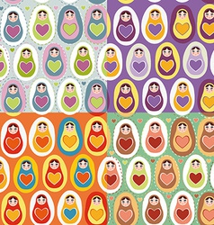 Set of four seamless pattern russian dolls vector