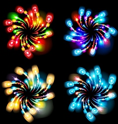 Festive patterned firework bursting in various vector
