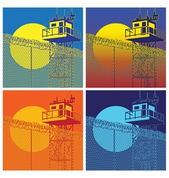 Colorful watchtower vector