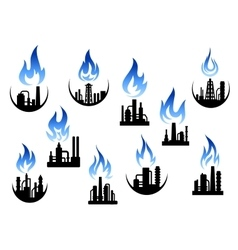 Industrial plants and factories icons vector