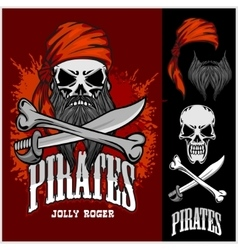 Pirate skull in red headband with cross swords vector