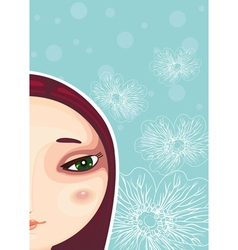 Girl face part close up vector
