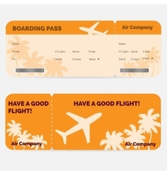 Airline boarding pass orange ticket isolated on vector