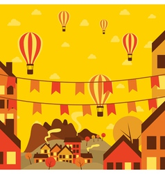 Autumn small town with air balloons vector image vector image