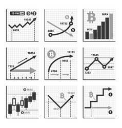 bitcoin growth up chart graphics set vector image vector image