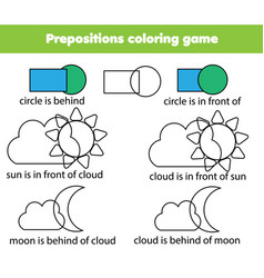 children educational game learning prepositions vector image vector image