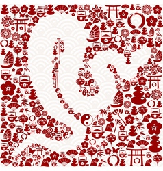 Chinese New Year of the Snake vector image