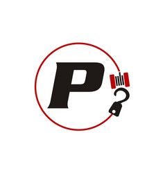 Crane hook towing letter p vector