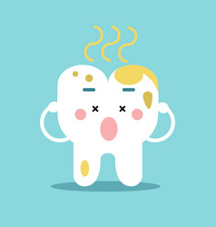 Cute cartoon tooth character with remnants of food vector