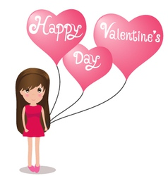 Cute girl happy valentine day holding balloons vector