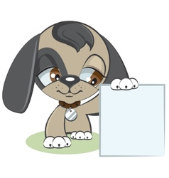 Dog holding a blank sheet of paper vector image