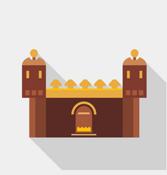 fortress with gate icon flat style vector image