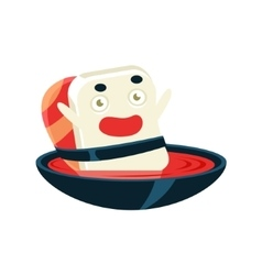 Funny maki sushi character bathing in soup bowl vector