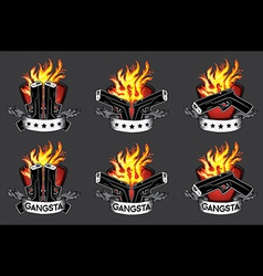 glock pistol weapon fire flames background vector image vector image