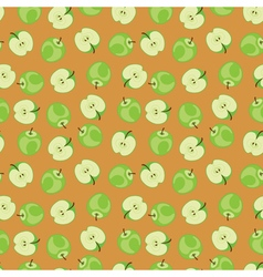 Green apple pattern on brown background vector image vector image