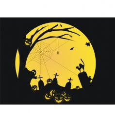 Halloween background with pumpkins bat vector image