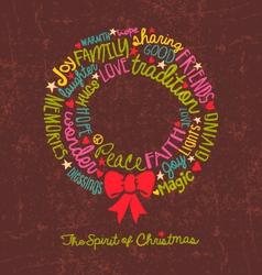 Handwritten christmas wreath card word cloud desig vector