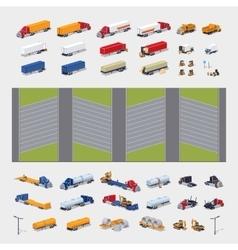Heavy trucks parking lot constructor vector