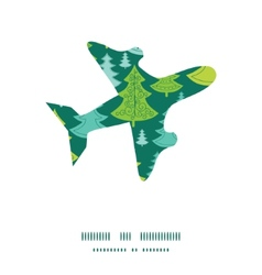 holiday christmas trees airplane silhouette vector image vector image