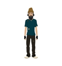 Homeless skinny shaggy man vector image
