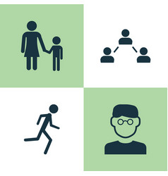 Human icons set collection of network running vector