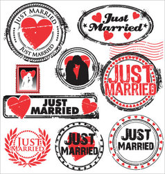 Just married stamps vector image vector image