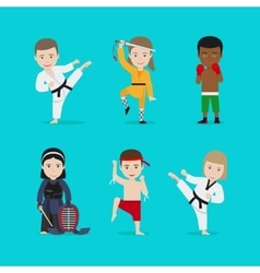Kids martial arts icons vector