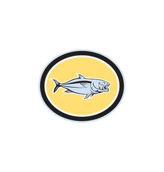 Kingfish cartoon oval vector