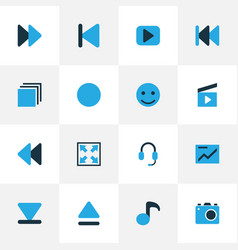 Media colorful icons set collection of next vector