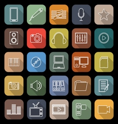 Media line flat icons with long shadow vector image vector image