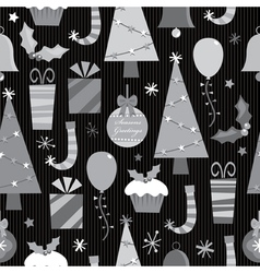 monochrome christmas pattern vector image vector image