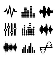 Music Soundwave Icons Set on White Background vector image