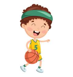 Of kid playing basketball vector