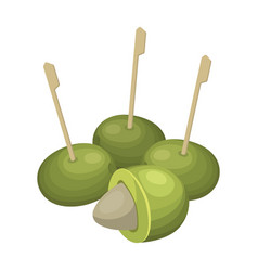 olive with a stone on a stickolives single icon vector image